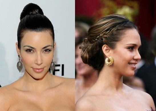 Updos Hairstyles Kim Kardashian and Jessica Alba